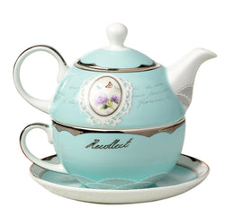 Jusalpha Bone China Blue Teapot for One, Teapot and Saucer Set, Turquoise Gold (Teapot Set 03)