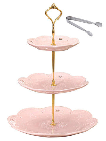 Jusalpha 3-tier Pink Ceramic Cake Stand/Cupcake Stand/Dessert Stand/Tea Party Pastry Serving Platter/Food Display, Stand, Home Decor, Pink (3RP Gold)