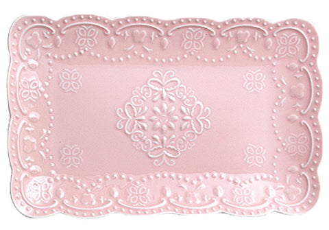 Jusalpha Pink Rectangle Embossed Lace Plate-1 Piece (10 Inches, Pink)