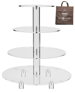 Jusalpha® 4 Tier Acrylic Glass Round Cake Stand-cupcake Stand- Dessert Stand-tea Party Serving Platter for Wedding Party(4TR) (Large With Rod Feet)