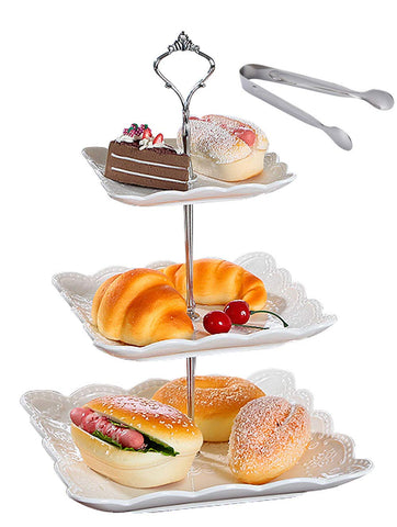Jusalpha 3-tier Square White Ceramic Cake Stand Dessert Stand-Cupcake Stand-Tea Party Serving Platter (3SW Silver)