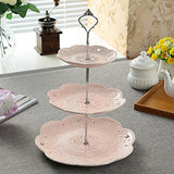 Jusalpha 3-tier Ceramic Cake Stand/Cupcake Stand Tower/Dessert Stand/Pastry Serving Platter/Food Display Stand, Pink (3RP Silver)