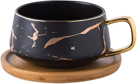 Jusalpha 10 oz Golden Hand Print Tea Cup And Saucer Set/Coffee Cup And Bamboo Saucer Set TCS19 (Black)