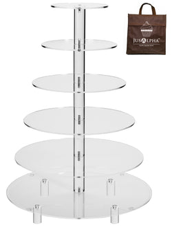 Jusalpha® Large 6-Tier Acrylic Cake Stand-cupcake Stand- Dessert Stand-tea Party Serving Platter for Wedding Party (Large With Rod Feet)