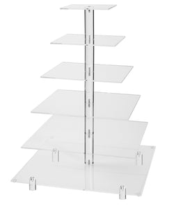 Jusalpha Large 6 Tier Wedding Party Square Cupcake Stand-Cake Stand-Cupcake Tower-Dessert Display Stand