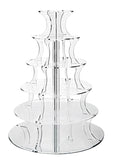 Jusalpha® 6 Tier Round Elegant Crystal Clear Strong Acrylic Wedding Cupcake Stand Tower/ Cake Stand/ Pastry Serving Platter (6ZJ R)