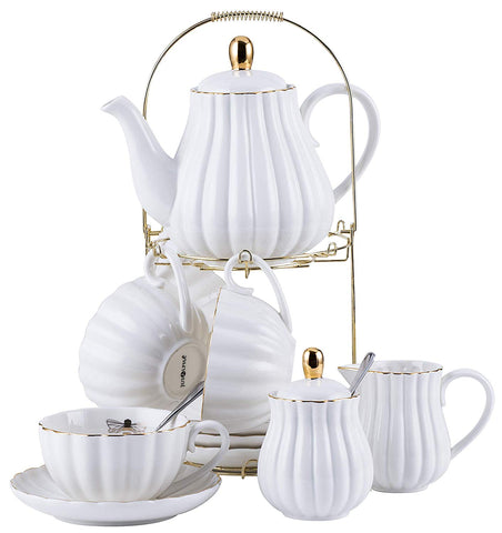 Jusalpha Fine China White Coffee Cup/Teacup, Saucer, Spoons, Teapot and Creamer set, 17-Pieces (FD-TW17PC SET, White)