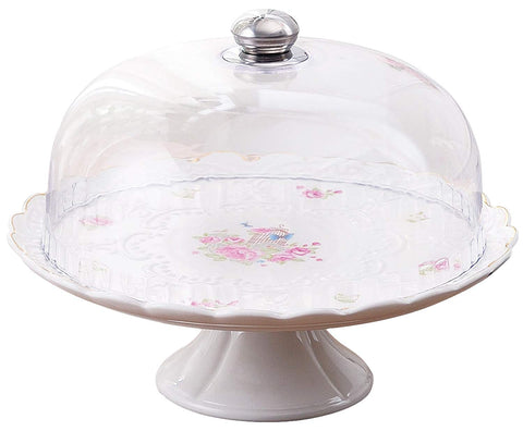 Jusalpha 12-Inches Rose Series Ceramic Decorative Cake Stand-Cupcake Stand With Lid, CS05