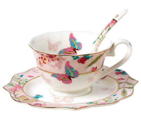Jusalpha Vintage Butterfly Bone China Teacup Spoon and Saucer Set TCS07 (Pink)