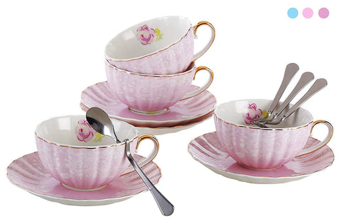Jusalpha Porcelain Tea Cup and Saucer Coffee Cup Set with Saucer and Spoon Set of 4 (FD-TCS04 (4) Pink)