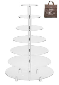Jusalpha® Large 7-Tier Acrylic Glass Round Cake Stand-cupcake Stand- Dessert Stand-tea Party Serving Platter for Wedding Party (Large With Rod Feet Base)