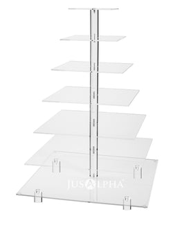 Jusalpha® Large 7 Tier Wedding Party Acrylic Glass Cupcake Stand-Cake and Dessert Tower