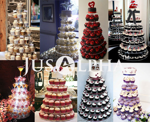Jusalpha® 7 Tier Wedding Party Round Acrylic Glass Cupcake Stand ...