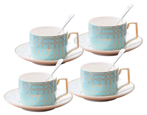 Jusalpha Fine China Modern Elegant Tea Cup and Saucer Set-Coffee Cup Set with Saucer and Spoon,TCS15 (4) (Blue)