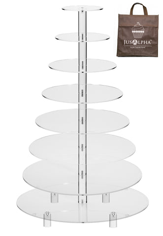 Jusalpha® 8 Tier Wedding Party Acrylic Round Cake Stand/ Cupcake Stand Tower/ Dessert Stand/ Pastry Serving Platter/ Food Display Stand For Big Event (8RF)