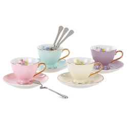Jusalpha® Fine China Coffee/ Tea  Cups and Saucers Set With Spoon, 7-Ounce ,4 COLOR