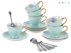 Jusalpha Fine China Coffee Bar Espresso small Cups and Saucers Set TCS02 (3 OZ Set of 6, Light Blue)