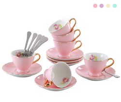 Jusalpha® Porcelain Tea Cup and Saucer Coffee Cup Set with Saucer and Spoon FD-TCS02 (7 OZ, Set of 6, Pink)