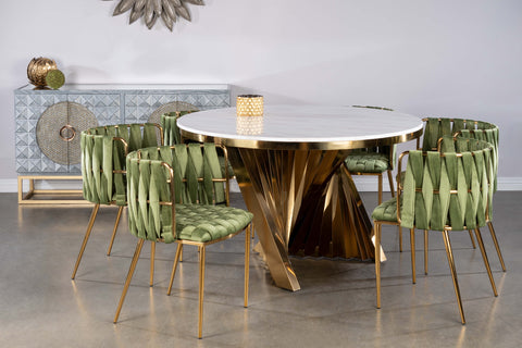 Round Waterfall Dining Set for 6 in Green