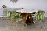 A69G-Waterfall Marble Top Dining Table in Gold