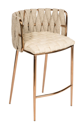 1538CS-BGEG-Milano Counter Chair in Off White And Gold