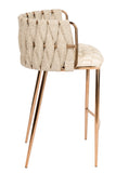 1538CS-BGEG-Milano Counter Chair in Off White And Gold-PRE-ORDER