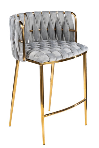 1538CS-GRYG-Milano Counter Chair in Gray And Gold-PRE-ORDER