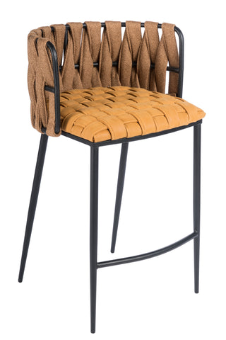 1538CS-YEL-Milano Counter Chair in Champagne