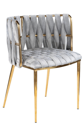 1538DC-GRYG-Milano Dining Chair in Gray and Gold