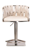 1610GB-GEG-S-Milano Adjustable Swivel Bar /Counter Chair in Silver and Off White