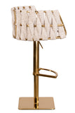 1610GB-GEG-Milano Adjustable Swivel Bar /Counter Chair in Gold and Off White