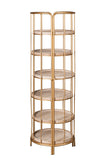 9B2825W-Odette Retractable Round Bookcase Bookshelf
