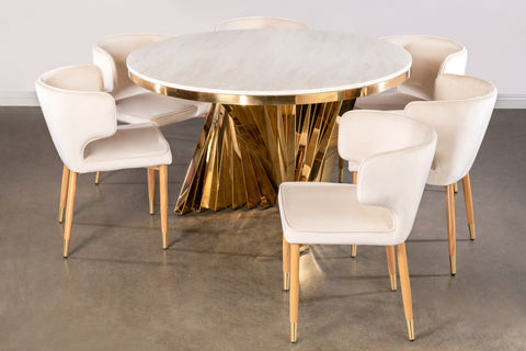 Round Waterfall Dining Set for 6 in Ivory