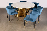 Round Waterfall Dining Set for 6 in Blue