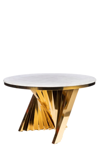 PRE-ORDER-A69G-Waterfall Marble Top Dining Table in Gold