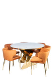 A69G-Waterfall Marble Top Dining Table in Gold-PRE-ORDER