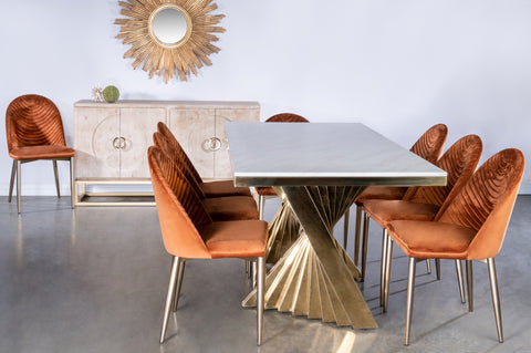 Waterfall Dining Set for 8 in Burnt Orange