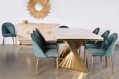 Waterfall Dining Set for 8 in Teal
