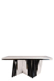 A70Sa-Waterfall Rectangular Marble Top Dining Table in Chrome