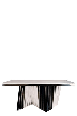 A70Sa-Waterfall Rectangular Marble Top Dining Table in Chrome-PRE-ORDER