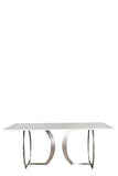 A73S-MB-Tabor Rectangular Marble Top Dining Table in Silver