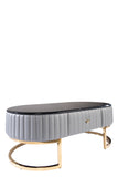 C-053-Caroline Marble Top Oval Coffee Table IN gRAY