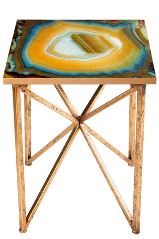 FB-1008-G-Or Agate Side Table