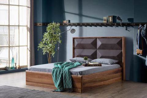 AN02Q-Mario Upholstered Wood Bed