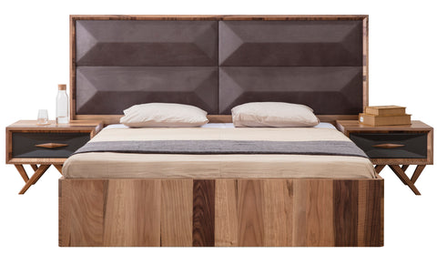 AN01QW-Mario Grande Upholstered Wood Bed