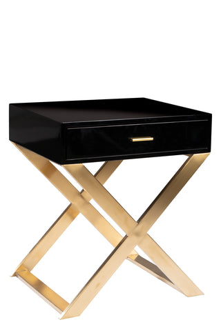 J-063-Kristy Lacquered Black Nightstand