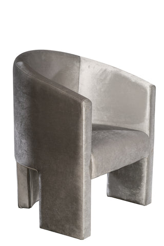 J130-DC-ROSE-Leblon Curved Dining Chair in Gray