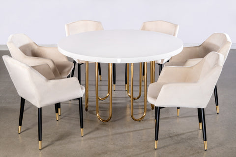 J-106-Willow Dining Set in Ivory