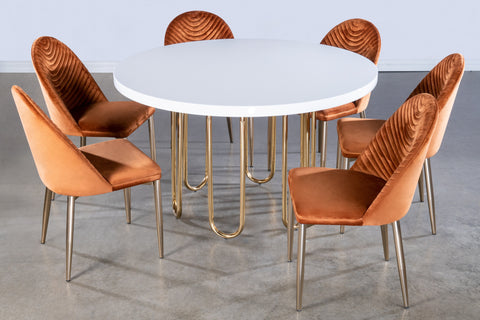 J-106-Willow Dining Set in Burnt Orange