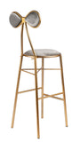 J3-18324-Bow Bar Chair in Gray Velvet